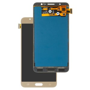LCD compatible with Samsung J710 Galaxy J7 (2016), (golden, with touchscreen, without adjustment of light, (TFT), Copy)